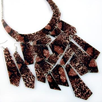 Smykke- og Øredobbsett - Slange brun