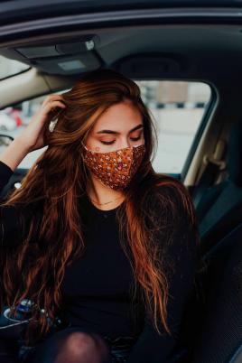 Maske - Retro blomster brun