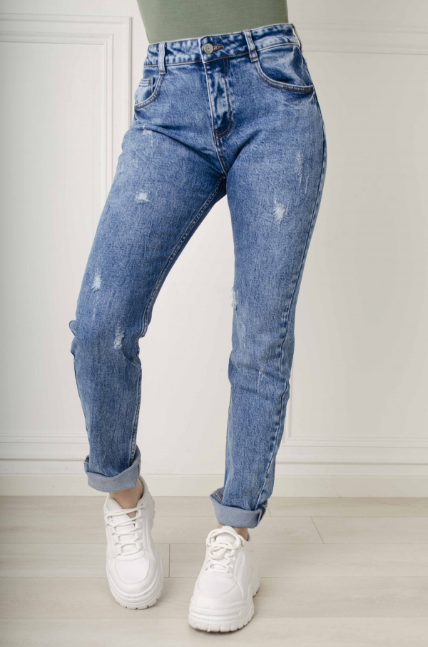 Jeans - Carly straight leg blå