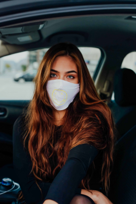 Maske - Smiley hvit/gul