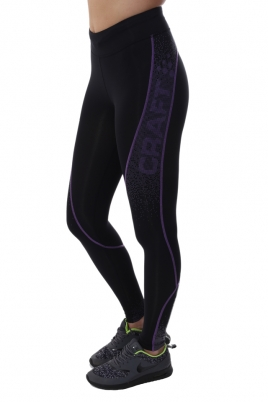 Treningstights - Craft Delta Compression long tights Svart/Lilla