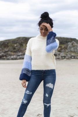 Genser - Natalia flerfarget blå
