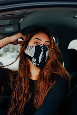 Maske - Bomull svart/grå print