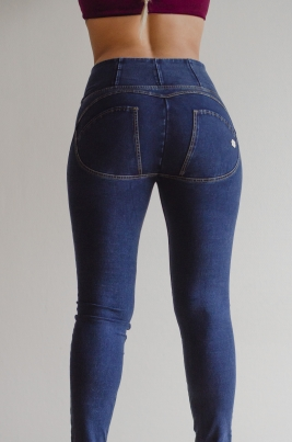 Jeans - WR.UP® Shaping Jeans Skinny High Dark Blue + Yellow Stitching