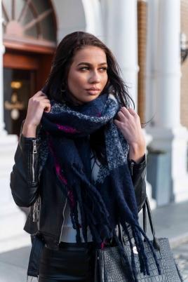 Skjerf - North Exclusive Amanda blå/rosa