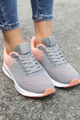 Sneakers - Jorunn grå/korall
