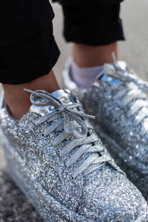 Sneakers - Gitte sølv glitter