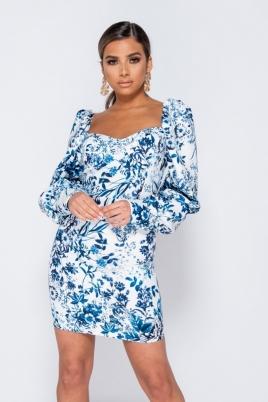 Kjole - Flora hvit/blå