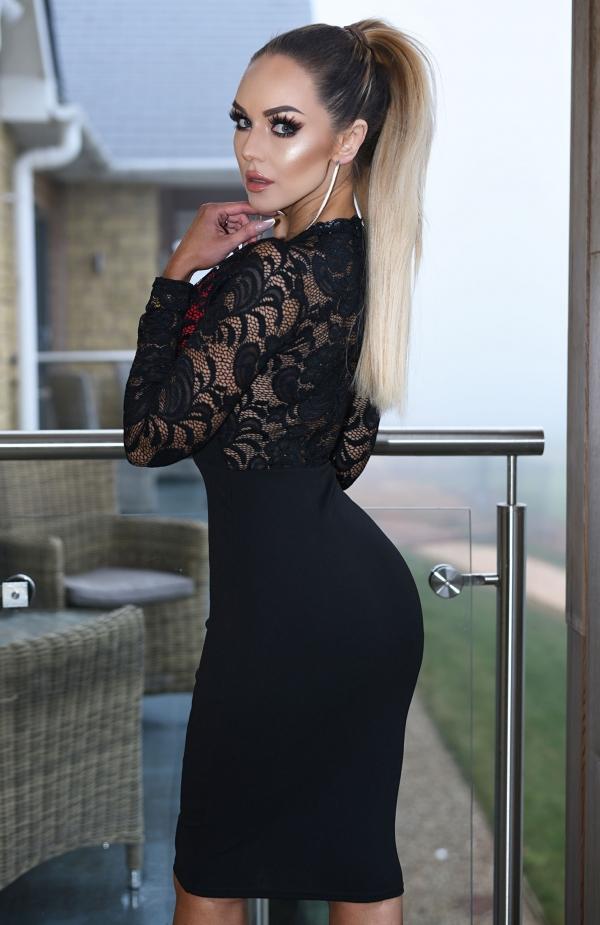 Kjole - Zora svart rød