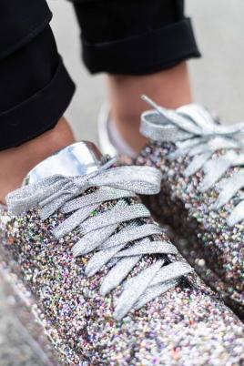 Sneakers - Gitte flerfarget glitter