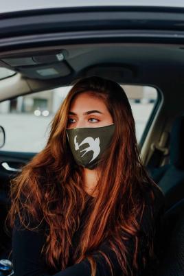 Maske - Bomull khaki/grå fugleprint