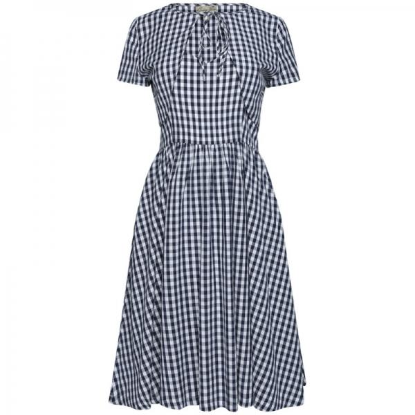 Kjole - Liana mørkeblå/hvit
