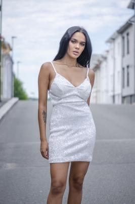 Kjole - North Exclusive Elissa Hvit/Sølv