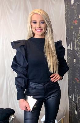 Genser - Pernille puffed sleeves svart