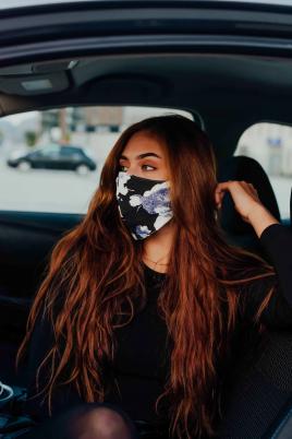 Maske - Bomull svart/blå/hvit print