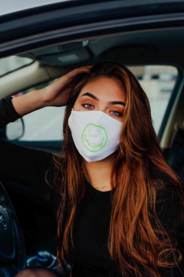 Maske - Smiley hvit/grønn