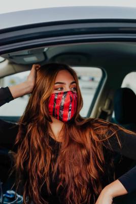 Maske - Print rød/svart