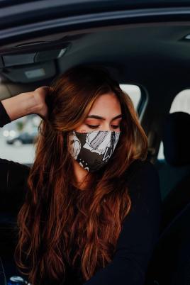Maske - Bomull khaki/grå print