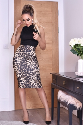 Kjole - Lorena svart/leopardprint