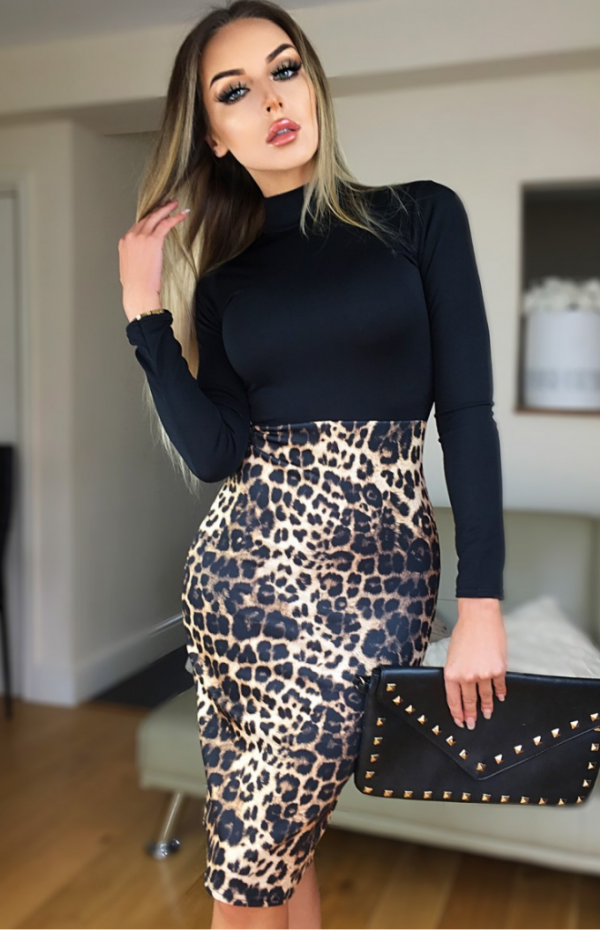 Kjole - Victoria Beckham inspirert dyreprint kjole