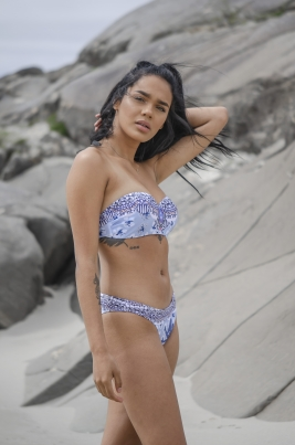 Bikinitopp - North Exclusive Nora Blå/Flerfarget