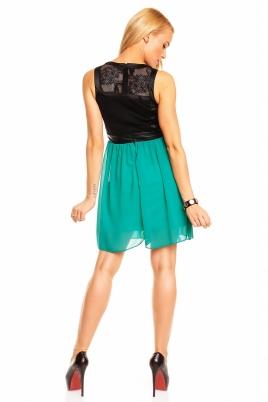 Kjole - Lea svart/grønn