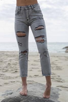 Jeans - Karen straigth leg grå